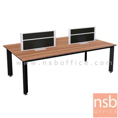 """ชุดโต๊ะทำงานกลุ่ม  รุ่น PS-SWB42 4 ที่นั่ง 240W cm. พร้อมป็อบอัพและมินิสกรีนกั้นหน้าโต๊ะ:<p>ขนาด 240W*120W*115H cm. &nbsp;โต๊ะขาเหล็กพ่นดำ / TOP ปิดผิวเมลามีนทนความร้อนและรอยขีดข่วน /&nbsp;&nbsp;อุปกรณ์เสริมโต๊ะทำงานกลุ่ม ถาดวางเอกสาร<a href=""""http://www.nsboffice.com/productdetail-gid-11945.aspx"""">&nbsp;A33A024</a>&nbsp;, กล่องรางรายสายไฟ&nbsp;<a href=""""http://www.nsboffice.com/productdetail-gid-11946.aspx"""">A33A025</a>&nbsp;, รางร้อยสายไฟแบบตั้ง&nbsp;<a href=""""http://www.nsboffice.com/productdetail-gid-11947.aspx"""">A33A026</a></p>"""