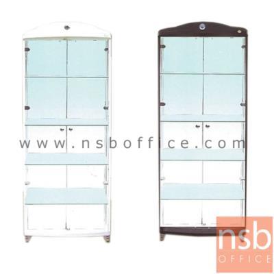 ตู้โชว์กระจกดาวน์ไลท์ ขนาด 80W*40D*190H cm. รุ่น DW-208 มีไฟในตัว (หลังกระจกเงา) :<p>ขนาด 80W*40D*190H cm.&nbsp;<span>ภายในมี 4 แผ่นชั้น(5 ช่อง) แผ่นหลังเป็นกระจกเงา แผ่นข้าง-แผ่นหน้าเป็นกระจกใส โครงผลิตจากไม้ปาร์ติเกิลบอร์ด มีให้เลือก 3 สีคือสีขาว(เคลือบเมลามีนล้วน) , สีบีช(เคลือบเมลามีนล้วน) และสีโอ๊ค(เคลือบฟลอยด์ล้วน)</span></p>