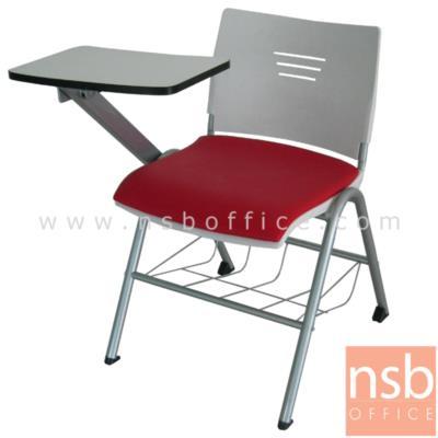 เก้าอี้เลคเชอร์เฟรมโพลี่  มีตะแกรงสำหรับวางของ รุ่น CV-096-097 ขาเหล็กพ่นสี:<p>ขนาด 62W*67D*76H cm.&nbsp;ผลิต 2 รุ่น คือเฟรมโพลี่ล้วนและเฟรมโพลี่หุ้มเบาะ /&nbsp; โครงเก้าอี้พ่นสีในระบบ epoxy /แผ่นเลคเชอร์ทำจากไม้ปาร์ติเกิ้ลบอร์ดปิดผิวโฟเมก้า สามารถเปิดขึ้นลงและเก็บไว้ด้านข้างได้ / เก้าอี้พลาสติกฉีดขึ้นรูป เก้าอี้ผลิต 3 สี คือ สีดำ สีขาว และ สีแดง&nbsp;</p>