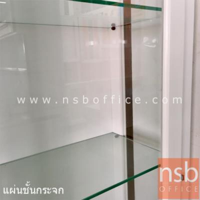 ตู้โชว์กระจกไม้ยางพาราล้วน สูง 175 cm. รุ่น 7-L-SPC   กุญแจล็อค:<p>ขนาด 80W*36.8D*175H cm. โครงสร้างผลิตจากไม้ยางพาราล้วน หน้าบานเปิดกระจกเฟรมไม้ ภายในมีแผ่นชั้น 3 แผ่น(4 ช่อง) แผ่นชั้นผลิตจากกระจกใส หน้าบานมีกุญแจล็อค ผลิต 2 สีคือสีขาว และ สีโอ๊ค</p>