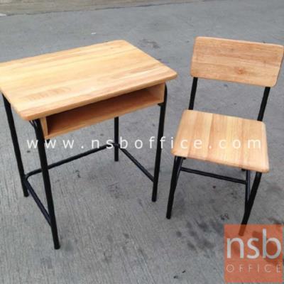ชุดโต๊ะเก้าอี้นักเรียน ระดับประถมศึกษา หน้าไม้ยางพารา :<p>1 ชุด ประกอบด้วย โต๊ะ ขนาด 60W*40D*67H cm. ,เก้าอี้ ขนาด 38W*36D*38H cm. โต๊ะและเก้าอี้ไม้ยางพารา&nbsp; โครงขาเหล็กพ่นสี</p>