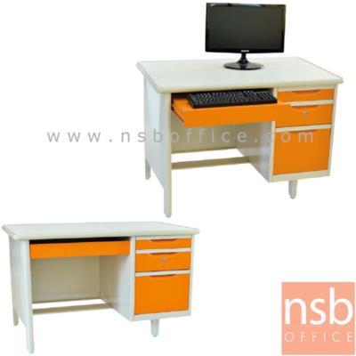 โต๊ะคอมฯเหล็กหน้าเหล็ก 3 ลิ้นชัก 3 ฟุต, 3.5 ฟุต, 4 ฟุต พร้อมรางคีย์บอร์ด:<p>โครงผลิตจากเหล็ก หนา 0.5 มม. /โครงสีขาวมุก หน้าบานสีสัน</p>