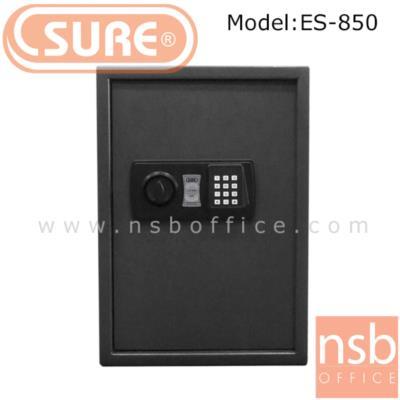 ตู้เซฟดิจตอล SR-ES850 น้ำหนัก 16 กก.  (1 รหัสกด / ปุ่มหมุนบิด)  :<p>ขนาด 35W*31D*50H cm. น้ำหนัก 16 กก. / โครงตู้สร้างด้วยเหล็กคุณภาพ &nbsp;สามารถยึดตัวตู้กับพื้นหรือผนังได้ / เปลี่ยนรหัสได้โดยใช้ตัวเลข 3-8 ตัว /ระบบกุญแจไขฉุกเฉินสามารถเปิดได้กรณีลืมรหัสผ่านหรือแบตเตอร์รี่หมด ระบบล็อคอัตโนมัติ ในกรณีกดรหัสผิด 3 ครั้ง</p>