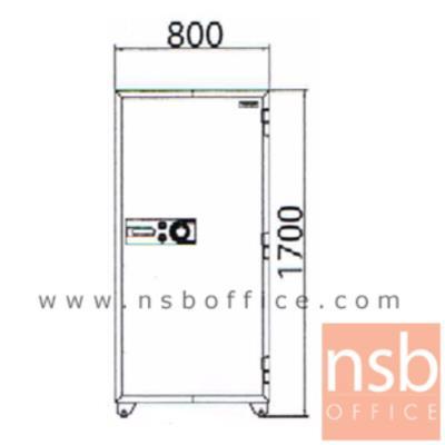 ตู้เซฟนิรภัยชนิดหมุน 495 กก. รุ่น PRESIDENT-SB90 มี 2 กุญแจ 1 รหัส (รหัสใช้หมุนหน้าตู้)   :<p>ขนาดภายนอก 80W*70.1D*170H cm. ขนาดภายใน 66W*46D*148.5H cm. หน้าบานตู้มี 2 กุญแจ 1 รหัส ภายในมี 1 ลิ้นชักพร้อมกุญแจล็อคแยก และมี 3 ถาดพลาสติก /ความจุ 451 ลิตร สามารถกันไฟได้นาน 2 ชั่วโมง</p>