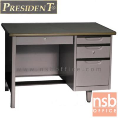 โต๊ะทำงานเหล็ก 4 ลิ้นชัก เพรสสิเด้นท์ รุ่น DE-2436,DE-2642,DE-2648:<p>ผลิต 3 ขนาดให้เลือกคือ 3 , 3.5 และ 4 ฟุต /มี 4 ลิ้นชัก(3 ลิ้นชักข้างระบบล็อคกุญแจเดียว พร้อม 1 ลิ้นชักกลาง) หน้าโต๊ะทำจากเหล็กปิดทับด้วยพีวีซีพร้อมขอบยางกันกระแทก &nbsp;โครงโต๊ะผลิตจากเหล็กหนา 0.6 มม. &nbsp;มีที่พักเท้า&nbsp; ผลิตเฉพาะสีเทากลาง(G3)</p>