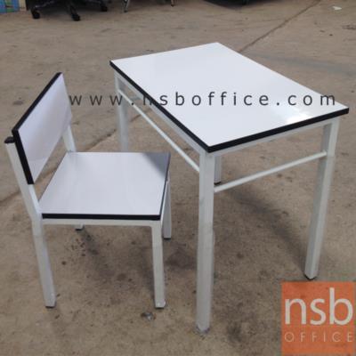 ชุดโต๊ะนักเรียนเด็กเล็ก โครงเหล็กสีขาว โฟเมก้าขาว TC-06:<p>ขนาดของโต๊ะ 40W*60D*58H cm. ขนาดเก้าอี้ ที่นั่งกว้าง 30 ลึก32 ซม. พื้นถึงที่นั่ง 28 ซม. พื้นถึงพนักพิง 60 ซม. โครงเหล็กพ่นขาว หน้าโต๊ะโฟเมก้าขาว</p>