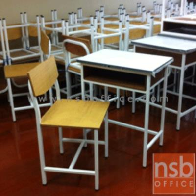 ชุดโต๊ะนักเรียน โครงเหล็กสีขาว หน้าไม้ยางสีธรรมชาติ  ประถม/มัธยม:<p>ประถม/มัธยม โต๊ะขนาด 60W*40D*75H cm. / อนุบาล โต๊ะขนาด 60W*40D*60H cm.พร้อมเก้าอี้ 40W*45D*80H cm. / หน้าไม้ยางสีธรรมชาติ โครงผลิตจากเหล็กพ่นสีขาว</p>