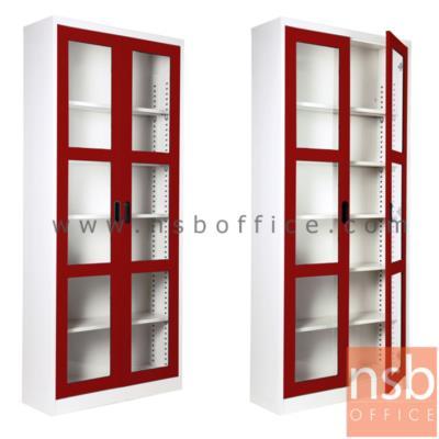 """ตู้เอกสาร 2 บานเปิดกระจกสูง 200 ซม.คีออส KIOSK-MAX 025:<p>ขนาด ก88*ล30*ส200 ซม./ภายในมี 5 แผ่นชั้นสามารถปรับระดับได้ ซึ่งสามารถรับน้ำหนักได้ชั้นละ 50 กก.</p> <p><strong><span style=""""text-decoration: underline;"""">*กรณีเจาะยึดผนังเพิ่มใบละ 200 บาท (เฉพาะผนังปูนเท่านั้น)**</span></strong></p>"""