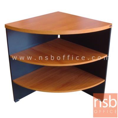 """โต๊ะเข้ามุม   (¼ วงกลม ผลิตได้ทั้งด้านเท่าและด้านไม่เท่า):<p>ผลิต 3 ขนาด คือ R60*75H, 75W1*60W2*75H, 80W1*60W2*75H (<span style=""""text-decoration: underline;"""">แนะนำ</span> ด้านไม่เท่าเหมาะสำหรับโต๊ะตัวแอลที่เราต้องการโต๊ะด้านข้างไม่ลึกเท่าโต๊ะด้านหน้า เนื่องจากอาจวางแค่คอมพิวเตอร์หรือพรินเตอร์เท่านั้น) / 3 ชั้นวาง / ผลิตจากไม้ปาร์ติเกิ้ลบอร์ด เคลือผิวเมลามีน TOP หนา 25 มม.&nbsp;</p>"""