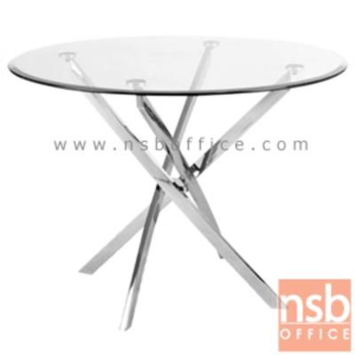 โต๊ะหน้ากระจก รุ่น SR-TCG-001  ขนาด 100Di cm.  ขาเหล็กชุบโครเมี่ยม:<p>ขนาดเส้นผ่านศูนย์กลาง 100*สูง73 ซม. หน้ากระจกเป็นกระจกนิรภัย หนา 10 มม. ขาโต๊ะทำจากเหล็กชุบโครเมี่ยม (เหลี่ยม) หนา 1.2 มม. สินค้าสามารถรองรับน้ำหนักได้ไม่เกิน 25 กิโลกรัม **โดยการกระจายน้ำหนักในการจัดวาง**</p>
