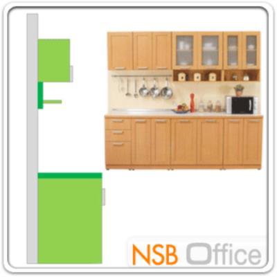 ชุดตู้ครัว 240W cm. รุ่น STEP-007 พร้อมตู้แขวน:<p>ขนาดรวม 240W*60W*200H cm. /มี 8ชิ้นประกอบด้วย ตู้ 3 ลิ้นชัก จำนวน 1 ใบ, ตู้ 2 บานเปิด จำนวน 3 ใบ, ตู้แขวน 1 บานเปิดทึบ จำนวน 1 ใบ, ตู้แขวน 2 บานเปิดทึบ จำนวน 1 ใบ และตู้แขวนบนกระจก-ล่างช่องโล่ง จำนวน 2 ใบ /ปิดผิวด้วยเมลามีน ชนิดพิเศษทนความร้อนสูง ทนต่อรอยขีดข่วน และกรด ด่าง /TOP สีขาว โครงตู้ผลิต 2 สีคือสีบีช และสีโอ๊ค</p>