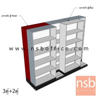 ตู้รางเลื่อนแนวขวาง แบบเลื่อนข้าง  5,7,9,11 ตู้ (ความกว้างของตู้เดี่ยว 91.4 ซม.):<p>ตู้แบบเลื่อนข้าง 5,7,9,11 ตู้&nbsp; มีตู้หลังเป็นตู้ Fixed ไม่สามารถเลื่อนไม่ได้&nbsp; ส่วนตู้หน้าสามารถเลื่อนได้ รับน้ำหนักได้ 75 กก.&nbsp; / ชั้นเหล็กหนา 0.7 มม. 4 ชั้น 5 ช่อง / แผ่นพื้นปิดผิวลามิเนต HPL / ผลิตสีเทาเข้ม สีครีม และสีเทาควันบุหรี่ / แผ่นชั้นปรับระดับได้</p>
