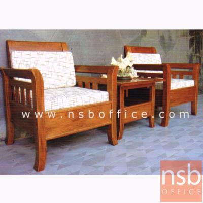 ชุดโซฟาไม้้จริงที่นั่งเบาะหนัง  2 ที่นั่ง 1 โต๊ะกลาง:<p>โต๊ะ ขนาด 55W*60D*45H cm. /โซฟา ขนาด 64W*69D*75H cm.</p>