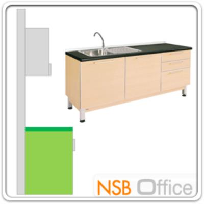 ตู้ครัวเคาน์เตอร์ 180 ซม. รุ่น SR-TDK118LR พร้อมซิงค์ล้างจาน :<p>ขนาด 180W*60D*84H cm. 2 บานเปิด 3 ลิ้นชักขวา พร้อมซิงค์ล้างจาน 1 หลุม /สามารถเลือกซิงค์ล้างจานอยู่ซ้ายหรือขวาได้ตามต้องการ /TOP ผลิตจากเมลามีนสีดำ โครงตู้ปิดผิวด้วยเมลามีน ชนิดพิเศษทนความร้อนสูง ทนต่อรอยขีดข่วน และกรด ด่าง /ชุดรางลิ้นชักลูกปืน 2 ตอนดึงออกมาได้สุด /บานพับปิดนุ่มนวล /โครงตู้ผลิตสีบีช</p>