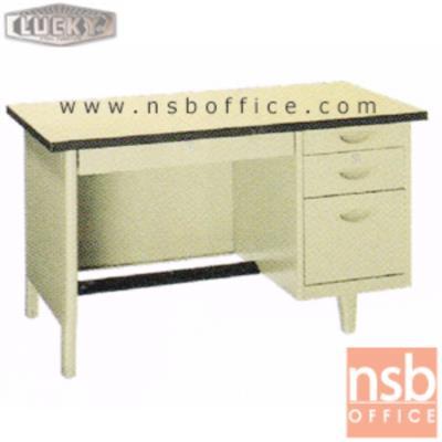 โต๊ะทำงานเหล็กหน้าโฟเมก้า 4 ลิ้นชัก ยี่ห้อ Lucky รุ่น NTN (ผลิต 3 , 3.5 และ 4ฟุต) :<p>สินค้าผลิต 3 ขนาดคือ ขนาด 3 , 3.5 และ 4ฟุต ตัวโต๊ะเป็นสีครีมล้วน หน้า TOP โฟเมก้า สีครีม (PP 3737 UN) / มีกุญแจล็อคและที่พักเท้าด้านล่าง *ราคานี้ไม่รวมกระจก*</p>