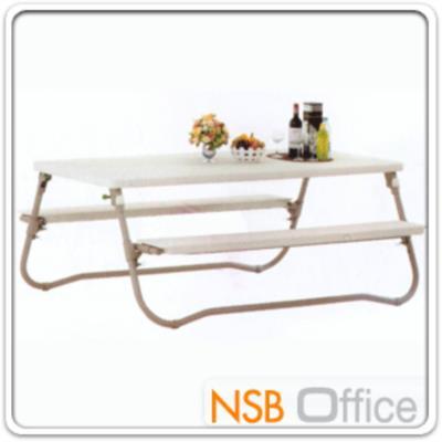 ชุดโต๊ะเก้าอี้สนาม รุ่น NT-TP-002 พร้อมที่นั่ง พับไม่ได้:<p>ขนาด ก198*ล91*ส76 ซม. ขาเหล็กสีครีม/ หน้าพลาสติกขาวนวล HDPE เกรด A&nbsp; ทนร้อน แข็งแรง ยืดหยุ่นสูง และทำความสะอาดง่าย&nbsp; **รับประกันหน้าเก้าอี้ 5 ปี &nbsp;(น้ำหนัก 43.8 กก.)**</p>