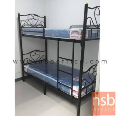 """เตียงเหล็ก 2 ชั้น ขนาด 3 ฟุตครึ่ง   หนาพิเศษ 0.9 mm สีดำ:<ul> <li>เตียงเหล็ก 2 ชั้น ขนาด 3 ฟุตครึ่ง</li> <li>ความสูงรวม 170 cm. ความสูงถึงพื้นเตียงชั้นบน 125 cm.</li> <li>โครงสร้างผลิตจากเหล็กกลม 2"""" นิ้ว หนา 0.9 mm. สีดำล้วน รับน้ำหนักได้ดี</li> </ul>"""