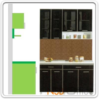 ชุดตู้ครัว พร้อมตู้แขวน รุ่น SR-MARKET-140H   :<p>ขนาด 140W*60D*200H cm. /มี 4 ชิ้นประกอบคือ ตู้ 2 บานเปิด 1 ลิ้นชัก จำนวน 2 ใบ, ตู้แขวน 2 บานเปิดกระจก จำนวน 1 ใบ และตู้บนเปิดกระจก-ล่างช่องโล่ง จำนวน 1 ใบ /แผ่น TOP คุณภาพพิเศษ EUROPEAN STANDARD EN 321 ทนต่อทุกสภาพอากาศ /ปิดผิวด้วยเมลามีน(MELAMINE) ชนิดพิเศษทนความร้อนได้สูง ทนต่อรอยขีดข่วน และกรด ด่าง /บานพับปิดนุ่มนวล ด้วยระบบ SOFT CLOSE SYSTEM HINGE นำเข้าจากต่างประเทศ</p>
