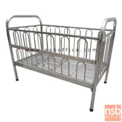 เตียงเด็กสแตนเลส กว้าง 75 ซม. รุ่น QTS-420:<p>ขนาด กว้าง 75*ลึก 138*สูง 104 ซม. เตียงสแตนเลสด้านข้างสามารถพับเปิดปิดเพื่อลดระยะในการใช้งาน</p>