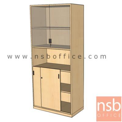 ตู้เอกสารบนสูง 5 ชั้น บานเปิดกระจก ล่างบานเลื่อนทึบ ตรงกลางช่องโล่งสูง  200H cm. เมลามีน:<p>ผลิต 2 ขนาดคือ 80W*40D*200H cm., 90W*40D*200H cm. (วางแฟ้มได้ 5 ช่อง) / ปิดผิวเมลามีน กันชื้น กันร้อน</p>