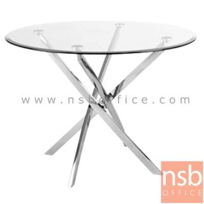 โต๊ะกระจกกลมนิรภัย Di100 cm. รุ่น SR-TCG-001 ขาเหล็กชุบโครเมี่ยม:<p>ขนาดเส้นผ่านศูนย์กลาง 100*สูง73 ซม. หน้ากระจกเป็นกระจกนิรภัย หนา 10 มม. ขาโต๊ะทำจากเหล็กชุบโครเมี่ยม (เหลี่ยม) หนา 1.2 มม. สินค้าสามารถรองรับน้ำหนักได้ไม่เกิน 25 กิโลกรัม **โดยการกระจายน้ำหนักในการจัดวาง**</p>