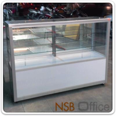 ตู้กระจกโชว์สินค้า มีช่องเก็บของด้านล่าง สูง 100 ซม.  โครงอลูมิเนียม ล้อเลื่อน (ยกเลิก):<p>ผลิต 4 ความกว้างคือ ขนาด 2.5, 3, 4 และ 5 ฟุต (D40*H100 cm) ด้านบนมี 2 แผ่นชั้น (3 ช่อง) / มีช่องสำหรับเก็บของด้านล่าง / โครงเป็นอลูมิเนียมล้วน ด้านล่างบุโฟเมก้าขาว<span>/</span><span>กระจก</span><span>บานเลื่อนและแผ่นชั้น หนา 5 มิล (1หุนครึ่ง)</span><span>/ กระจกรอบตัวหนา</span><span>3 มิล (1หุน) /</span><span>ไม่รวมชุดกุญแจและไฟในตู้ /<span>ลายยี่ห้อบน แผ่นกระจกสามารถลบออกได้ง่าย เพียงใช้น้ำเปล่า (ไม่ต้องใช้น้ำยาพิเศษใดใด)</span></span></p> <p><span>* ลูกล้อขนาด 2 นิ้ว ล้อเป็น ไม่มีเบรค (ไม่มีที่ล๊อค) *</span></p>