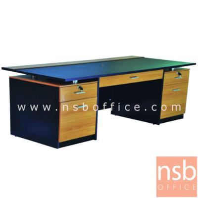 โต๊ะทำงาน  ผิวพีวีซี  5 ลิ้นชัก กุญแจล็อก ขนาด 160W cm.  :<p>ขนาด 160W*75D*75H cm. &nbsp;3 ลิ้นชัก 3 กุญแจล็อค 2 บานเปิด&nbsp; / หน้าลิ้นชักพ่นสีไฮกรอส / ผลิต 4 สี สีเชอร์รี่/ดำ , สีเขียว/ขาว ล สีส้ม/ขาว , สีโอ๊ค/ขาว</p>