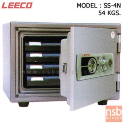 ตู้เซฟนิรภัย 54 กก.(แนวนอน) ลีโก้ รุ่น SS-4N มี 1 กุญแจ 1 รหัส (มีถาดพลาสติก 4 ลิ้นชัก):<p>น้ำหนัก 54 กก. รูปทรงแนวนอน ภายในมีถาดพลาสติก 4 ลิ้นชัก /กุญแจชนิดพิเศษแบบฝังลูกปืน(BOTH SIDES DIMPLE KEY) สามารถใช้ได้ทั้ง 2 ด้าน(REVERSIBLE KEY) ตู้เซฟผลิตจากเหล็กกล้าชนิดพิเศษ ทนต่อการกัดกร่อนและป้องกันการและป้องกันการเกิดสนิม ซึ่งทำให้สามารถกันไฟได้ดี</p>