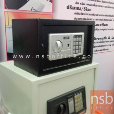 ตู้เซฟดิจิตอล SR-ES-1A (1 รหัสกด / ปุ่มหมุนบิด) ขนาด 31W*20D*20H cm.   :<p>ขนาด 31W*20D*20H cm. น้ำหนัก 4.5 กก. / โครงสร้างทำด้วยเหล็กคุณภาพ หนา 1 มม. (ยกเว้นความหนาประตูอยู่ที่ 3 มม.) / ด้านในประกอบด้วยพรมสีแดง และกุญแจไขฉุกเฉิน 2 ดอก พร้อมฝาเปิดด้านหลังสีแดง /สามารถเปลี่ยนรหัสล็อคได้โดยใช้ตัวเลข 3-8 ตัว / ตู้ผลิตสีดำ</p>