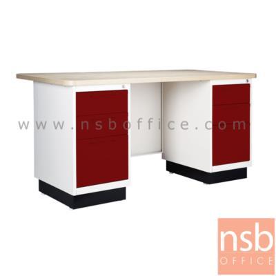 โต๊ะทำงานหน้า Melamine ลายไม้ (สีบีช) 5 ฟุต:<p>6 ลิ้นชัก / ขนาด 1500(W)*800(D)*750(H) mm. / Keylock&nbsp;</p>