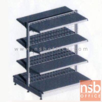 ชั้นเหล็กซุปเปอร์มาร์เก็ต 2 หน้า 4+4 แผ่นชั้น สูง 120 cm. (หนา 0.7 mm.) แบบตัวตั้ง และแบบตัวต่อ:<p>ขนาด 90W*90D*120H cm. / ชั้นเหล็กซุปเปอร์มาร์เก็ตวางได้สองด้านมีแผ่นชั้น 4+4 แผ่น สามารถปรับระดับได้&nbsp; มีเหล็กหนา 0.7 มม. / ตะแกรงด้านหลังมีความถี่ ขนาด (50*50 มม.) ขนาดของลวด Di 3 mm. /&nbsp;<span>แผ่นชั้นผลิตสีขาว / โครงเสาผลิต 6 สีคือ สีแดง ส้ม น้ำเงิน เหลือง ขาว และเขียวบางจาก (กรณีต้องการผลิตแผ่น</span><span>ชั้นตามสีโครงเสา สามารถผลิตได้กรณีมีจ</span><span>ำนวนมากกว่า 10 ตัวค่ะ)</span></p>