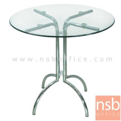 โต๊ะกระจกกลม Tower Round:<p>ขนาด 80*80*75 ซม. หน้าโต๊ะกระจกกลม/กระจกนิรภัย/ โครงขาเหล็กชุบโครเมี่ยม ขาคู่ 4 แฉก</p>