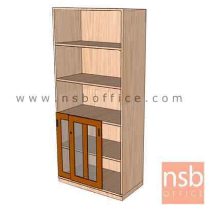 ตู้เอกสารสูง 5 ชั้น บนโล่ง ล่างบานเลื่อนกระจก 180H, 200H cm. เมลามีน:<p>ผลิต 3 ขนาดคือ 80W*40D*200H cm., 90W*40D*200H cm. (วางแฟ้มได้ 5 ช่อง) และ 90W*40D*180H cm&nbsp;(วางแฟ้มได้ 4 ช่องครึ่ง)&nbsp;/ ปิดผิวเมลามีน กันชื้น กันร้อน&nbsp;</p>