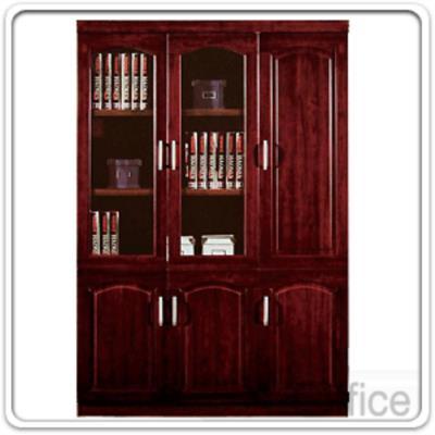 ตู้เอกสารไม้โอ๊คบนบานเปิดกระจก ล่างบานเปิดทึบและบานเปิดข้าง 135W*40D cm.:<p>ขนาด 135W*40D*200H cm.</p>