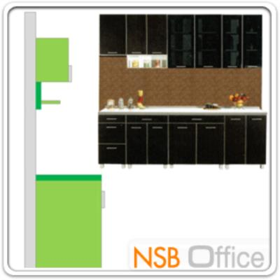ชุดตู้ครัว พร้อมตู้แขวน รุ่น SR-MARKET-240H :<p>ขนาด 240W*60D*200H cm. /มี 8 ชิ้นประกอบคือ ตู้ 3 ลิ้นชัก จำนวน 1 ใบ, ตู้ 2 บานเปิด 1 ลิ้นชัก จำนวน 2 ใบ, ตู้ 2 บานเปิดทึบ จำนวน 1 ใบ, ตู้แขวน 1 บานเปิดทึบ จำนวน 1 ใบ, ตู้แขวน 2 บานเปิดทึบ จำนวน 1 ใบ และตู้แขวน 2 บานเปิดกระจก จำนวน 2 ใบ /แผ่น TOP คุณภาพพิเศษ EUROPEAN STANDARD EN 321 ทนต่อทุกสภาพอากาศ /ปิดผิวด้วยเมลามีน(MELAMINE) ชนิดพิเศษทนความร้อนได้สูง ทนต่อรอยขีดข่วน และกรด ด่าง /บานพับปิดนุ่มนวล ด้วยระบบ SOFT CLOSE SYSTEM HINGE นำเข้าจากต่างประเทศ&nbsp;</p>
