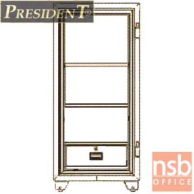 ตู้เซฟนิรภัยชนิดหมุน 250 กก. รุ่น PRESIDENT-SB50 มี 2 กุญแจ 1 รหัส (รหัสใช้หมุนหน้าตู้):<p>ขนาดภายนอก 59W*59.6D*127.5H cm. ขนาดภายใน 45W*35.5D*106H cm. หน้าบานตู้มี 2 กุญแจ 1 รหัส ภายในมี 1 ลิ้นชักพร้อมกุญแจล็อคแยก และมี 2ถาดพลาสติก /ความจุ 169 ลิต สามารถกันไฟได้นาน 2 ชั่วโมง</p>