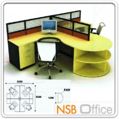 ชุดโต๊ะทำงาน 2 ที่นั่ง พร้อมพาร์ทิชั่น และโต๊ะครึ่งวงกลม:<p>225(D)*325(W)*75(H) cm / ผิวเมลลามีน / มีระบบร้อยสายไฟ ไม่รวมเก้าอี้</p>