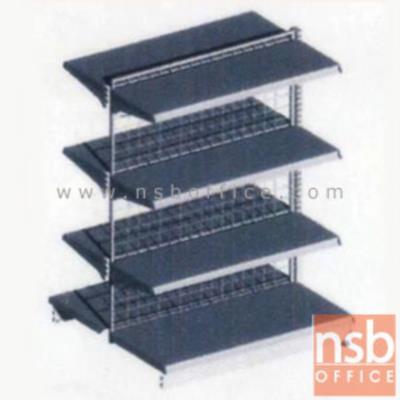 ชั้นเหล็กซุปเปอร์มาร์เก็ต รุ่น FS2-520,NS2-520  (หนา 0.5 mm.) แบบตัวตั้ง และตัวต่อ:<p>ขนาด 90W*90D*150H cm. / ชั้นเหล็กซุปเปอร์มาร์เก็ตวางได้สองด้านมีแผ่นชั้น 4+4 แผ่น สามารถปรับระดับได้&nbsp; มีเหล็กหนา 0.5 มม. / ตะแกรงด้านหลังมีความถี่ ขนาด (50*100 มม.) ขนาดของลวด Di 3 mm. /&nbsp;<span>แผ่นชั้นผลิตสีขาว / โครงเสาผลิต 6 สีคือ สีแดง ส้ม น้ำเงิน เหลือง ขาว และเขียวบางจาก (กรณีต้องการผลิตแผ่น</span><span>ชั้นตามสีโครงเสา สามารถผลิตได้กรณีมีจ</span><span>ำนวนมากกว่า 10 ตัวค่ะ)</span></p>