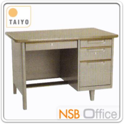 โต๊ะทำงานเหล็ก 4 ลิ้นชัก ขนาด 3.5 และ 4 ฟุต:<p>ผลิต 2 ขนาดคือ 3.5 ฟุต ขนาด&nbsp;1067(W)*660(D)*750(H)&nbsp;และ 4 ฟุต 1219(W)*660(D)*750(H) mm&nbsp;/ มีที่พักเท้ากลาง</p>