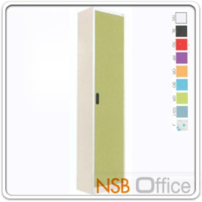 """ตู้เอกสาร 1 บานเปิดทึบสูง 200 ซม. รุ่น MAX-041 :<p>ขนาด ก46.6*ล30*ส200 ซม./ภายในมี 5 แผ่นชั้นสามารถปรับระดับได้ ซึ่งสามารถรับน้ำหนักได้ชั้นละ 50 กก./</p> <p>ผลิต 9 สีคือ สีขาวมุก, สีดำ, สีแดง, สีม่วง, สีส้ม, สีฟ้า, สีเขียว, สีเทาฟ้า และลายกราฟฟิค</p> <p><strong><span style=""""text-decoration: underline;"""">*กรณีเจาะยึดผนังเพิ่มใบละ 200 บาท (เฉพาะผนังปูนเท่านั้น)**</span></strong></p>"""
