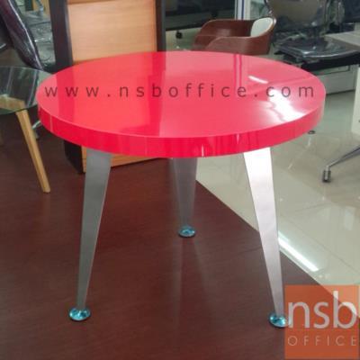 โต๊ะกลม TOPลามิเนตสีแดงเงา หนาพิเศษ 6 cm.  :<p>ขนาด 90Di*76H cm. &nbsp;โครงขาเหล็ก</p>