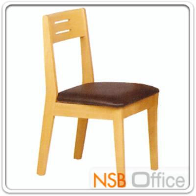 เก้าอี้ไม้ยางพารา ที่นั่งหุ้มหนังเทียม  รุ่น FW-CNP2018:<p>ขนาด 46W*44D*83H cm ผลิต 2 สี คือ สีบีช และสีโอ๊ค โครงเก้าอี้ทำจากไม้ยางพารา ที่นั่งบุฟองน้ำหุ้มหนังเทียม</p>