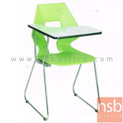 เก้าอี้เลคเชอร์เปลือกโพลี่ รุ่น V-B328  ขาเหล็กตัวซี:<p>ขนาด 47(W)*66(D)*82(H) cm. โครงขาเหล็กชุบโครเมี่ยม &nbsp;แผ่นรองเขียนหน้าโฟเมก้าขาวพับเหวี่ยงขึ้น / โพลี่ผลิต 8 สีคือ สีเขียวตอง, สีดำ, สีขาวครีม, สีกรมท่า, สีน้ำตาล, สีส้ม, สีชมพู และสีม่วง</p>