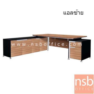 โต๊ะผู้บริหารตัวแอล  225W*202D*75H cm. มีบังตา:<p>ขนาด 225W*202D*75H cm. 2 ลิ้นชัก สามารถเลือกแอลซ้ายหรือแอลขาวได้ / TOP เมลามีน ปิดขอบหนา 45 มม. / ขาเหล็กอัลลอยชุบโครเมี่ยม &nbsp;/ กระจกหน้าบานสีดำ หนา 3 มม. / รูปแบบทันสมัย สีวอลนัทตัดดำ&nbsp;</p>