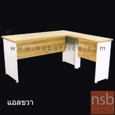 โต๊ะทำงานทรงตัวแอล  150W cm. :<p>ผลิตจากไม้ปาร์ติเกิ้ลบอร์ด ปิดผิวด้วยเมลามีน (MELAMINE RESIN FILM) หนา&nbsp; 25 มม.&nbsp; / แข็งแรง ทนทาน ป้องกันความชื้น / สามารถเลือกแอลซ้ายหรือขวาแอลได้ตามต้องการ&nbsp;สีเนเจอร์ทีค-ขาว</p>