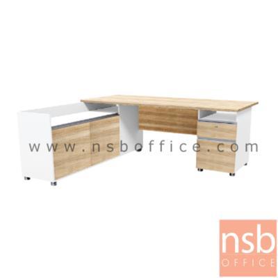 โต๊ะทำงานผู้บริหารตัวแอล ขนาด 180W1*179W2 cm. พร้อม 2 ลิ้นชักข้าง และตู้ข้าง สีเนเจอร์ทีค-ขาว:<p>ขนาด 180W1*179D*75H cm. / ตู้ 2 ลิ้นชัก และตู้ขางบานเปิด มือจับอลูมินั่ม / ผลิตจากไม้ปาร์ติเกิ้ลบอร์ด ปิดผิวด้วยเมลามีน&nbsp;/ สามารถเลือกแอลซ้าย หรือขวาแอลได้ตามต้องการ</p>