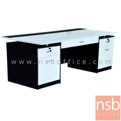 โต๊ะทำงาน ขนาด 160W cm. ผิวพีวีซี 5 ลิ้นชัก กุญแจล็อก ยกเลิก:<p>ขนาด 160W*75D*75H cm. &nbsp;3 ลิ้นชัก 3 กุญแจล็อค 2 บานเปิด&nbsp; / หน้าลิ้นชักพ่นสีไฮกรอส / ผลิต 4 สี สีเชอร์รี่/ดำ , สีเขียว/ขาว ล สีส้ม/ขาว , สีโอ๊ค/ขาว</p>