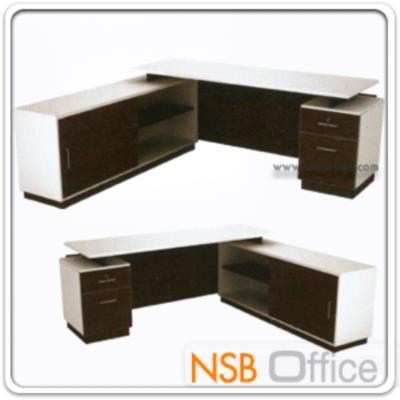 โต๊ะทำงานผู้บริหารตัวแอล ขนาด 1801W*180W2 cm. มี 2 ลิ้นชักข้าง พร้อมตู้ข้างบานเลื่อน (ไม่รวมกระจก):<p>ขนาด ก180*ล180*ส75 ซม. มี 2 ลิ้นชัก พร้อมตู้ข้าง /สามารถเลือกสลับซ้ายหรือขวาได้ตามต้องการ/ TOP เมลามีน หนา 25 มม. คิ้วบังหน้าติดอลูมิเนียม รูปแบบทันสมัย /ผลิตสีเวงเก้-ขาว **ไม่สามารถติดคีย์บอร์ดเพิ่มได้</p>