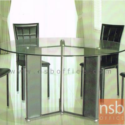 โต๊ะกลางหน้ากระจก 120W,150W cm.:<p>ผลิต 2 ขนาด 120Di*75H , 150DI*75H cm. ขาเหล็กหุ้มหนัง</p>