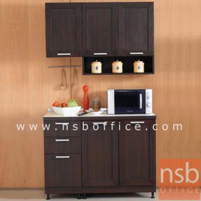 ชุดตู้ครัว 120W cm. รุ่น STEP-002 พร้อมตู้แขวน:<p>ขนาดรวม 120W*60W*200H cm. /มี 4ชิ้นประกอบด้วย ตู้ 3 ลิ้นชัก จำนวน 1 ใบ, ตู้ 2 บานเปิดทึบ 80W cm. จำนวน 1 ใบ, ตู้แขวน 1 บานเปิดทึบ จำนวน 1 ใบ และตู้แขวนบนทึบ-ล่างช่องโล่ง จำนวน 1 ใบ /ปิดผิวด้วยเมลามีน ชนิดพิเศษทนความร้อนสูง ทนต่อรอยขีดข่วน และกรด ด่าง /TOP สีขาว โครงตู้ผลิต 2 สีคือสีบีช และสีโอ๊ค</p>